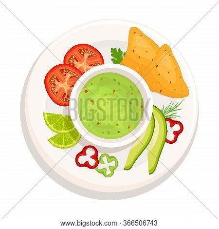 Guacamole Isolated On A White Background. Ingredients Of A National Mexican Dish. Vector. Top View.
