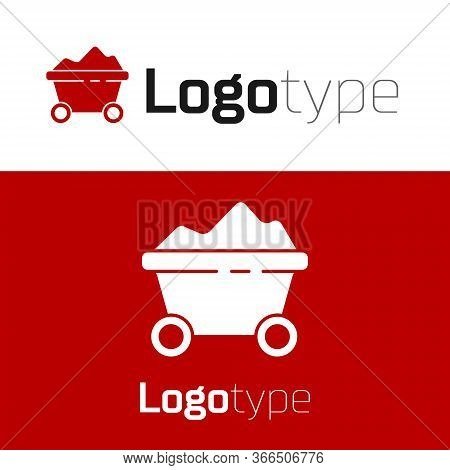 Red Coal Mine Trolley Icon Isolated On White Background. Factory Coal Mine Trolley. Logo Design Temp