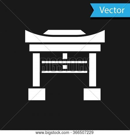 White Japan Gate Icon Isolated On Black Background. Torii Gate Sign. Japanese Traditional Classic Ga