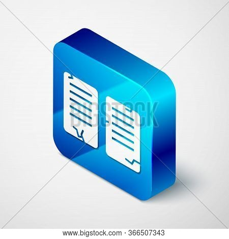 Isometric The Commandments Icon Isolated On Grey Background. Gods Law Concept. Blue Square Button. V
