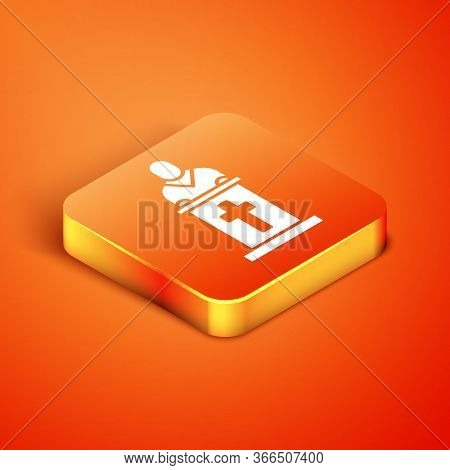 Isometric Church Pastor Preaching Icon Isolated On Orange Background. Vector