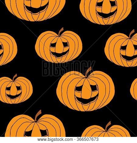 Abstract Seamless Pumpkin Pattern For Girls, Boy, Kids, Halloween, Clothes. Creative Vector Hallowee