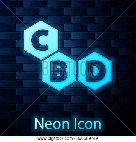 Glowing Neon Cannabis Molecule Icon Isolated On Brick Wall Background. Cannabidiol Molecular Structu