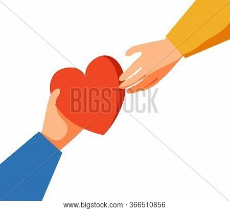 Volunteering Vector Illustration. Stylized And Abstract Team Help Charity And Sharing Hope. Care, Lo