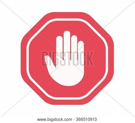 Simple Red Stop Roadsign With Big Hand Symbol Or Icon Vector Illustration. No Entry Hand Sign. Vecto