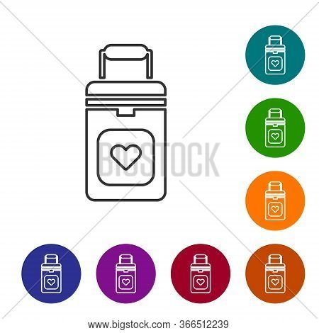 Black Line Cooler Box For Human Organs Transportation Icon Isolated On White Background. Organ Trans