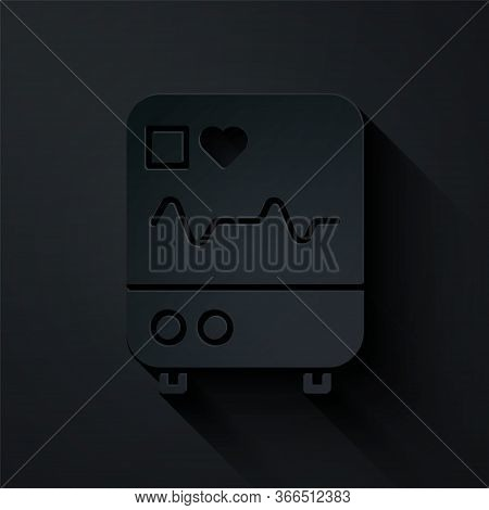 Paper Cut Computer Monitor With Cardiogram Icon Isolated On Black Background. Monitoring Icon. Ecg M