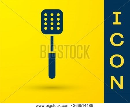 Blue Spatula Icon Isolated On Yellow Background. Kitchen Spatula Icon. Bbq Spatula Sign. Barbecue An
