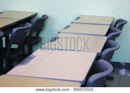 Empty Desks In The Classroom. Quarantine. The Class Is Empty. The School Is Closed For Quarantine.