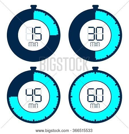 Timer, A Set Of Timers With Different Time Intervals. Vector, Cartoon Illustration.