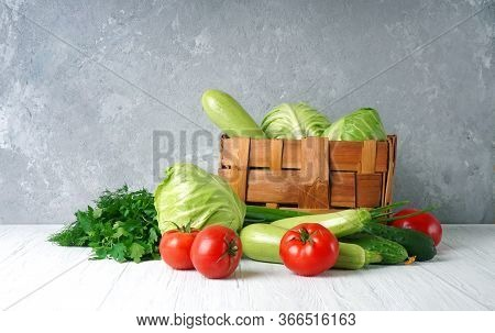 Composition With Different Fresh Farm Vegetables. Healthy Organic Food Background.