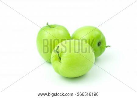 Apple Monkey Or Jujub (zizyphus Mauritiana Lam) Isolated Green Fruit On White Background And Clippin