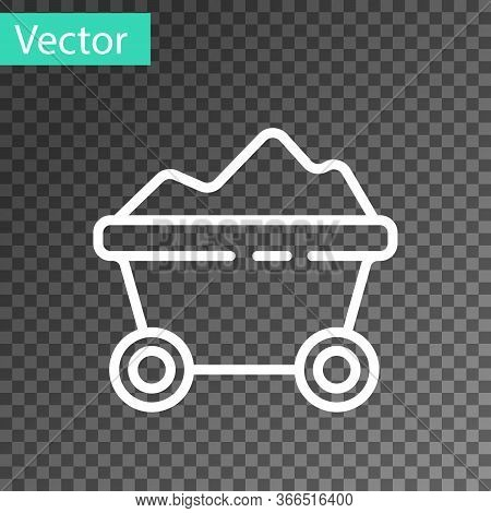 White Line Coal Mine Trolley Icon Isolated On Transparent Background. Factory Coal Mine Trolley. Vec
