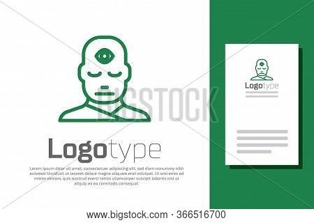 Green Line Man With Third Eye Icon Isolated On White Background. The Concept Of Meditation, Vision O