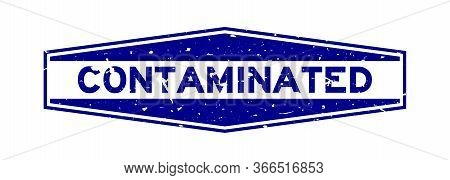 Grunge Blue Contaminated Word Hexagon Rubber Seal Stamp On White Background