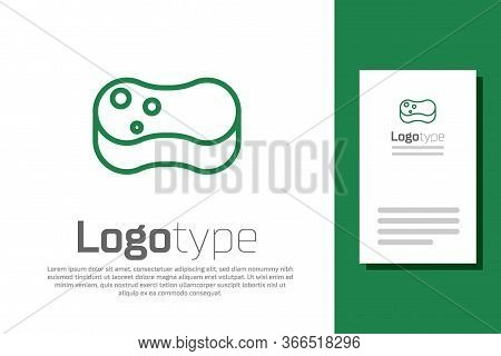 Green Line Sponge Icon Isolated On White Background. Wisp Of Bast For Washing Dishes. Cleaning Servi