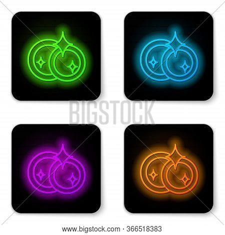 Glowing Neon Line Washing Dishes Icon Isolated On White Background. Cleaning Dishes Icon. Dishwasher
