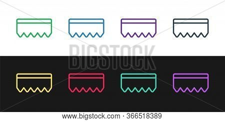 Set Line Sponge With Bubbles Icon Isolated On Black And White Background. Wisp Of Bast For Washing D