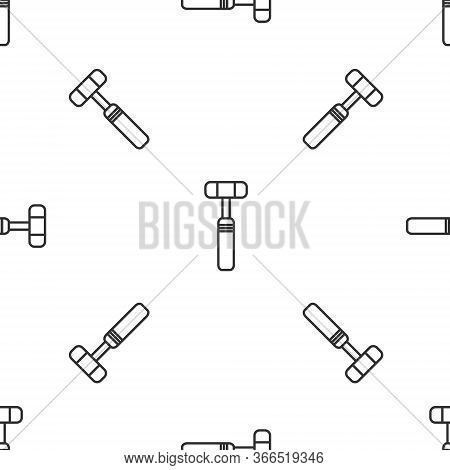 Grey Line Neurology Reflex Hammer Icon Isolated Seamless Pattern On White Background. Vector