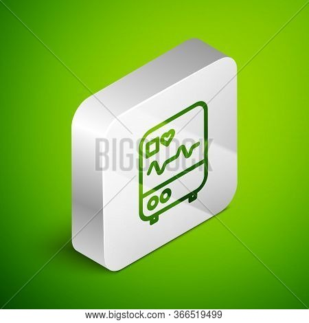 Isometric Line Computer Monitor With Cardiogram Icon Isolated On Green Background. Monitoring Icon.