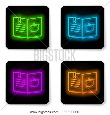 Glowing Neon Line Cookbook Icon Isolated On White Background. Cooking Book Icon. Recipe Book. Fork A