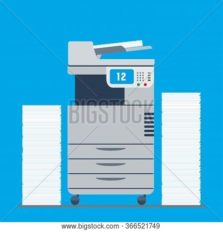 Copy Machine Or Photocopier And Paper Stacks