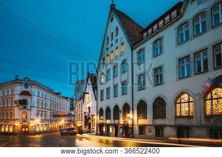 Tallinn, Estonia - December 5, 2016: Vanaturu Street In Historical Centre Of Old Town In Evening Ill