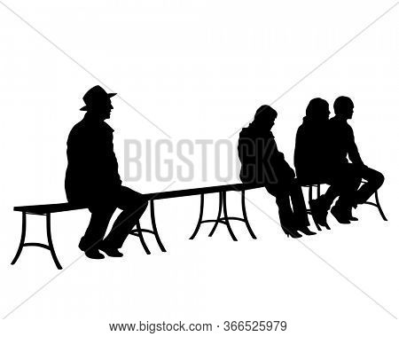 Resting people sitting on a park bench. Isolated silhouettes on a white background