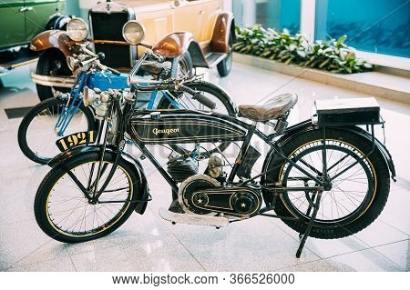Moscow, Russia - February 22, 2020: Retro Vintage Oldtimer Peugeot P50 Motorcycle Of 1932 Year At Mo
