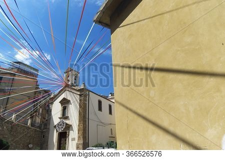 in Caltagirone church of Maria Santissima del Ponte festively decorated, Sicily