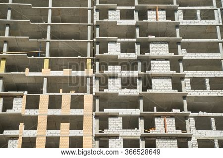 Floors Of The Unfinished Building. Incomplete Construction Of Multistory Building