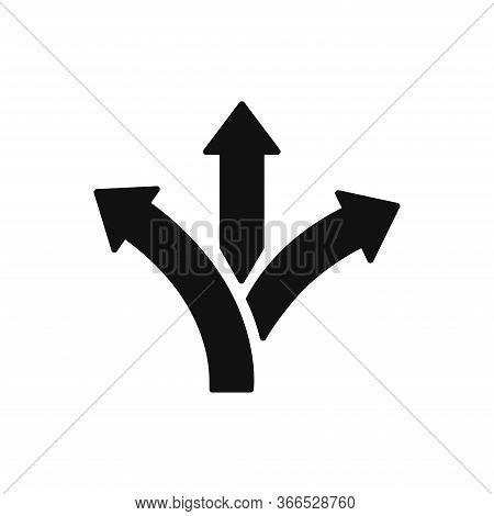 Three-way Direction Arrow Icon Isolated On White Background. Three-way Direction Arrow Icon In Trend