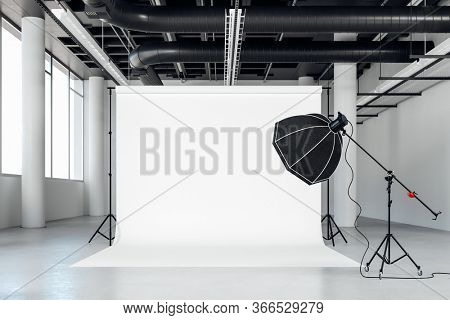 3d image of clean big space photo studio