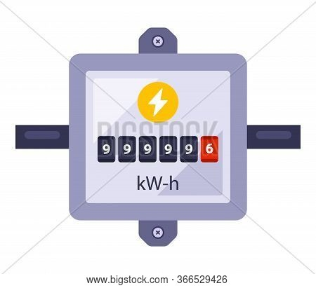 Electricity Meter To Record Energy Consumption. Flat Vector Illustration