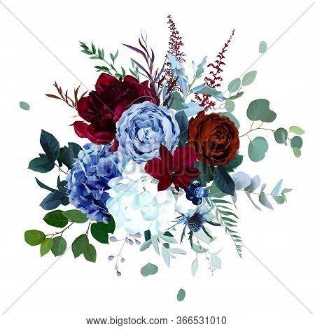 Royal Blue, Navy Garden Rose, White Hydrangea, Burgundy Red Peony Flowers, Orchid, Anthurium, Thistl
