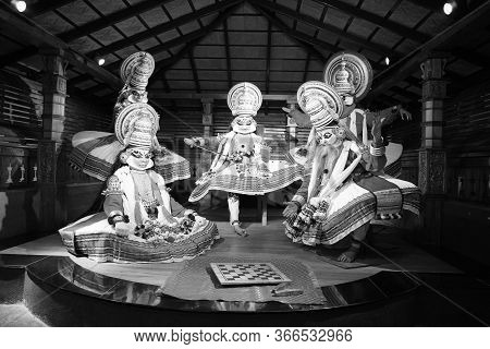 Black White Picture Of Kathakali Performers During Traditional Kathakali Dance Of Kerala's State, In