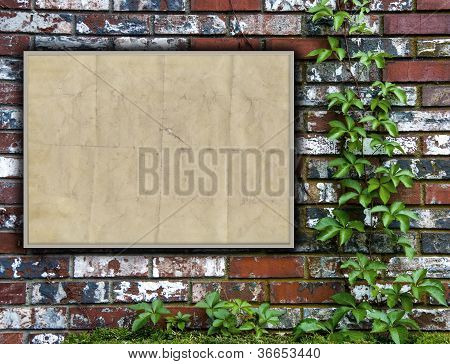 Brick Wall With Bulletin Board