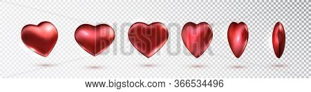 Red Hearts Set Of Metallic In Different Projections. Vector Red Hearts Collection. Realistic Hearts