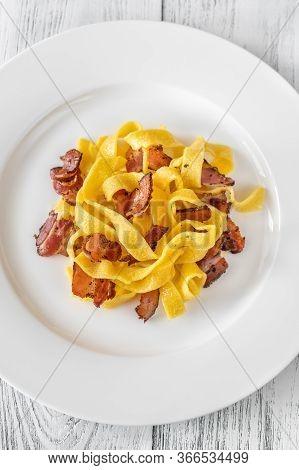 Pappardelle Pasta With Pancetta. Variation Of Carbonara Pasta.