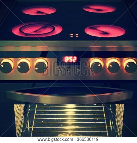 Electric Ceramic Stove Inside The Kitchen. Nice Detail Of A Home Appliance In A House Interior.