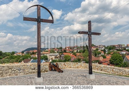Wooden Crosses And Cannon On Top Of Szep Bastion Eger Castle Hungary