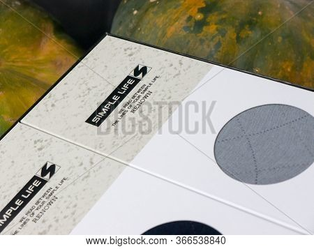 GOMEL, BELARUS - MAY 11, 2020: SIMPLE LIFE socks. SIMPLE LIFE is a lifestyle brand debuted in 1975 by Renown.