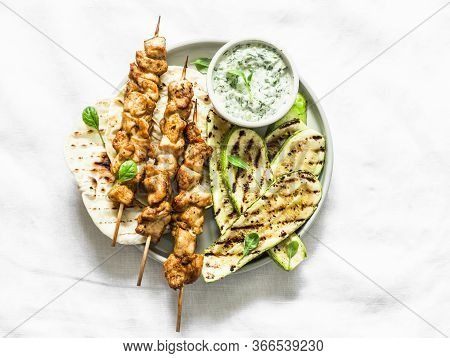 Chicken Skewers Souvlaki, Grilled Zucchini, Tortillas And Tzadziki Sauce - Delicious Greek Style Lun