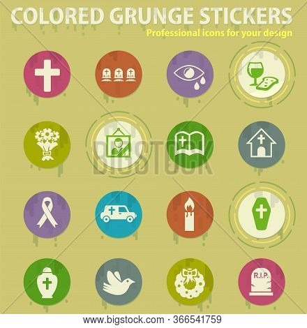 Funeral Agency Colored Grunge Icons With Sweats Glue For Design Web And Mobile Applications. Funeral