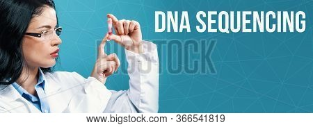 Dna Sequencing Theme With A Doctor Holding A Laboratory Vial On A Blue Background