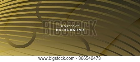 Abstract Vector Curve. Gold Futuristic Landing Page. 3d Flow Lines. Creative Brochure. Yellow Abstra