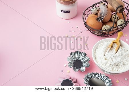 Baking Pastry Background, Ingredients, Kitchen Utensils On Light Pink Background, Flat Lay
