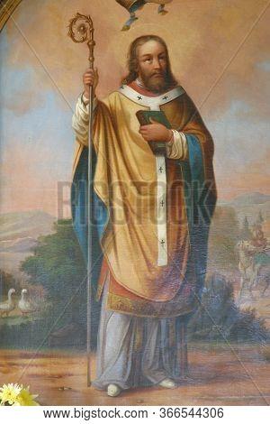 HRNETIC, CROATIA - JULY 15, 2012: Saint Martin, altarpiece in the Saint Martin's Parish Church in Hrnetic, Karlovac, Croatia