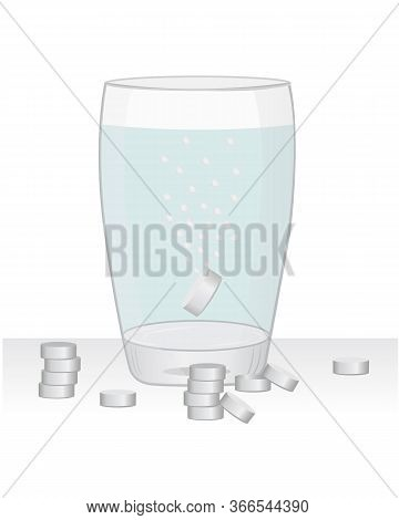 Paracetamol Pills In A Glass Of Water Vector Illustration