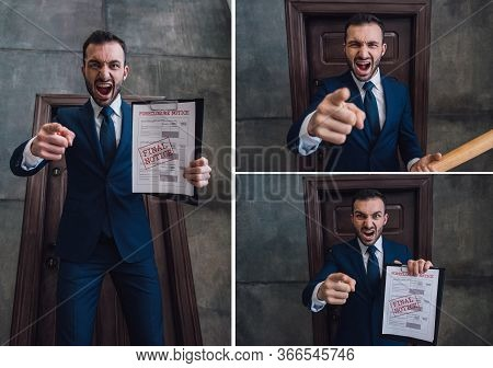 Collage Of Angry Collector With Baseball Bat And Documents With Foreclosure And Final Notice Letteri
